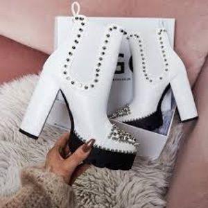 White stud heel booties